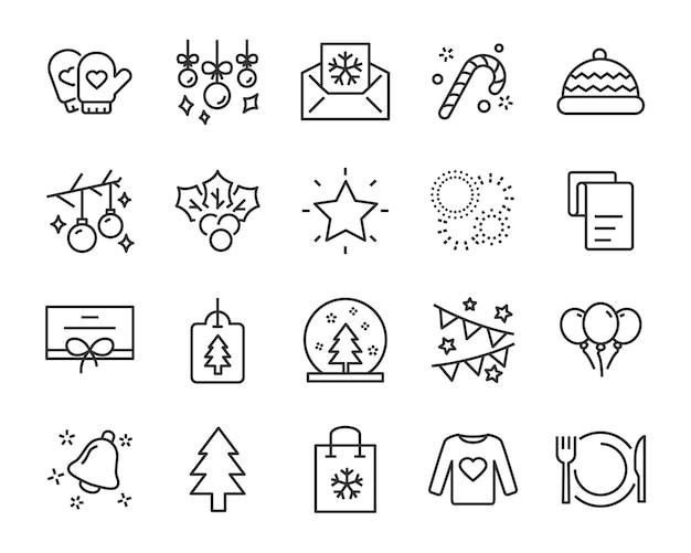 Set di icone di linea di natale, come scatola, regalo, inverno Vettore Premium