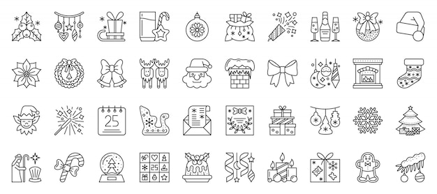 Set di icone di linea di natale e capodanno, segni di contorno di natale, simbolo della stagione invernale in stile lineare. Vettore Premium