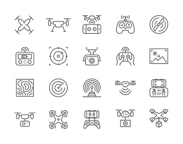 Set di icone di linea drone. Vettore Premium
