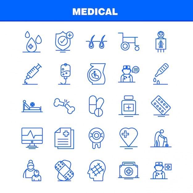 Set di icone di linea medica Vettore Premium