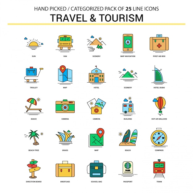 Set di icone di linea piatta viaggi e turismo Vettore Premium
