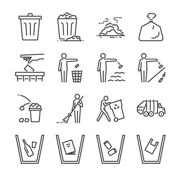 Set di icone di linea trash. Vettore Premium