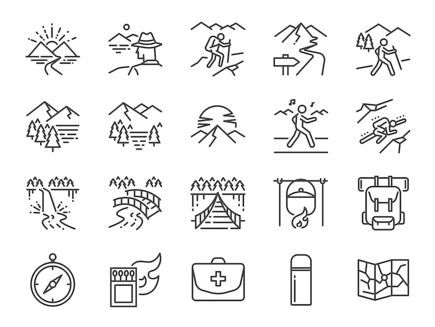 Set di icone di linea trekking. Vettore Premium