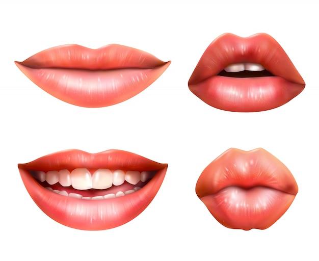 Set di icone di linguaggio del corpo della bocca Vettore gratuito