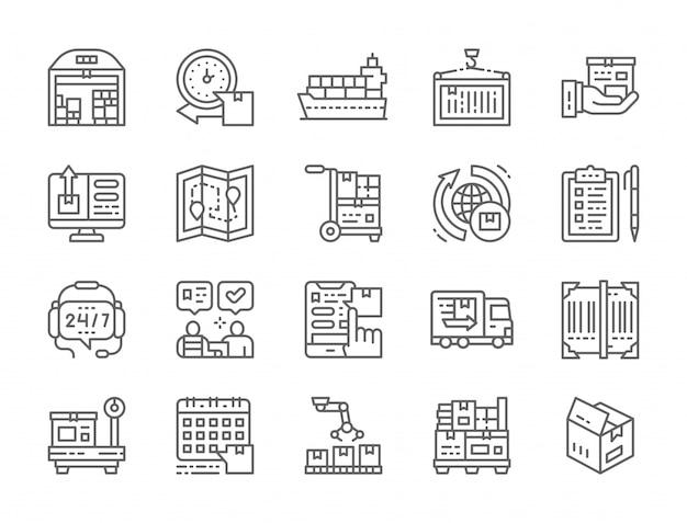 Set di icone di logistica e consegna Vettore Premium