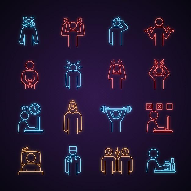 Set di icone di luce al neon stress emotivo Vettore Premium