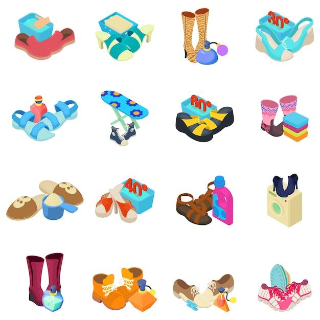 Set di icone di lustrascarpe Vettore Premium
