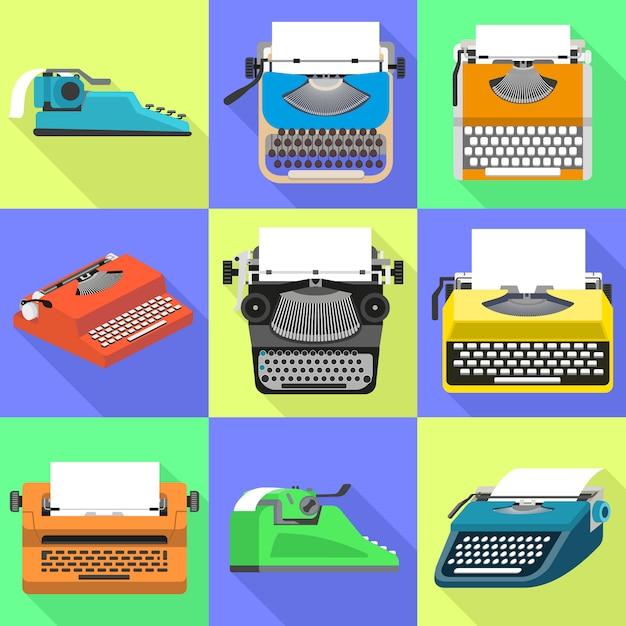 Set di icone di macchina da scrivere. insieme piano del vettore della macchina da scrivere Vettore Premium