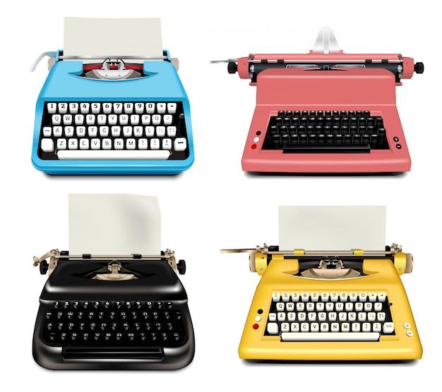Set di icone di macchina da scrivere. insieme realistico delle icone di vettore della macchina da scrivere isolate Vettore Premium