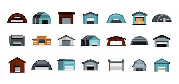 Set di icone di magazzino. insieme piano della raccolta delle icone di vettore del magazzino isolato Vettore Premium