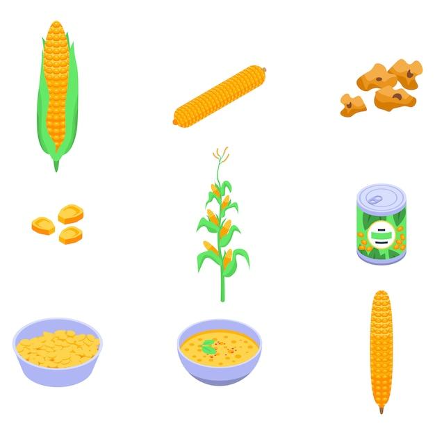 Set di icone di mais, stile isometrico Vettore Premium