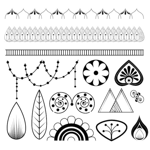 Set di icone di mandala stile boho Vettore Premium