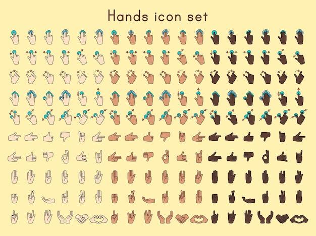 Set di icone di mani Vettore gratuito