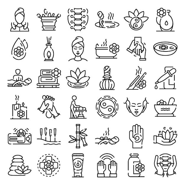 Set di icone di massaggio, struttura di stile Vettore Premium