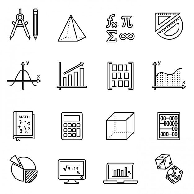 Set di icone di matematica Vettore Premium