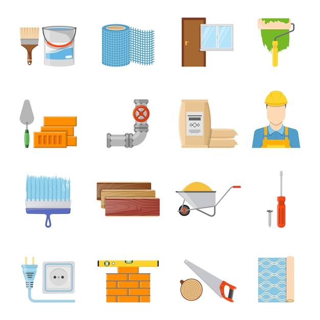 Set di icone di materiali da costruzione Vettore gratuito