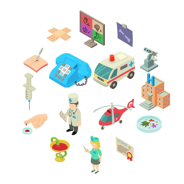 Set di icone di medicina, stile isometrico Vettore Premium