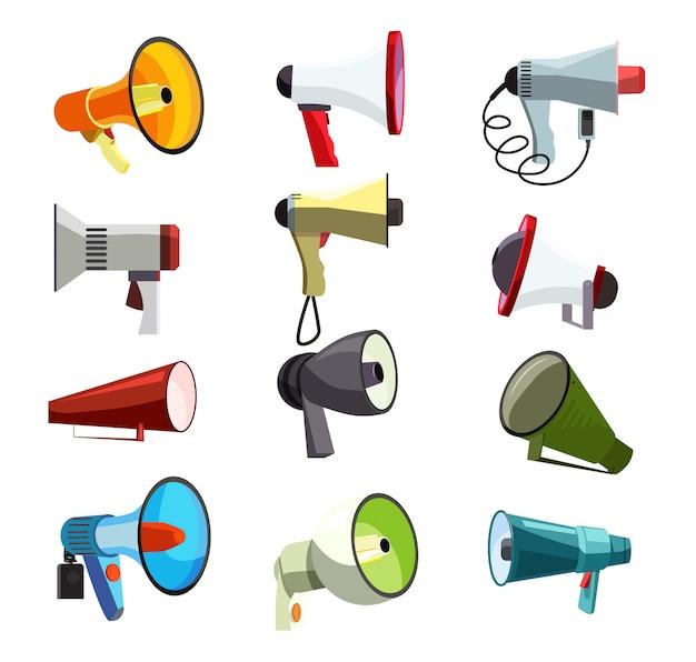 Set di icone di megafoni Vettore gratuito