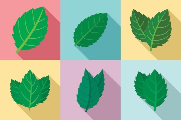 Set di icone di menta, stile piano Vettore Premium