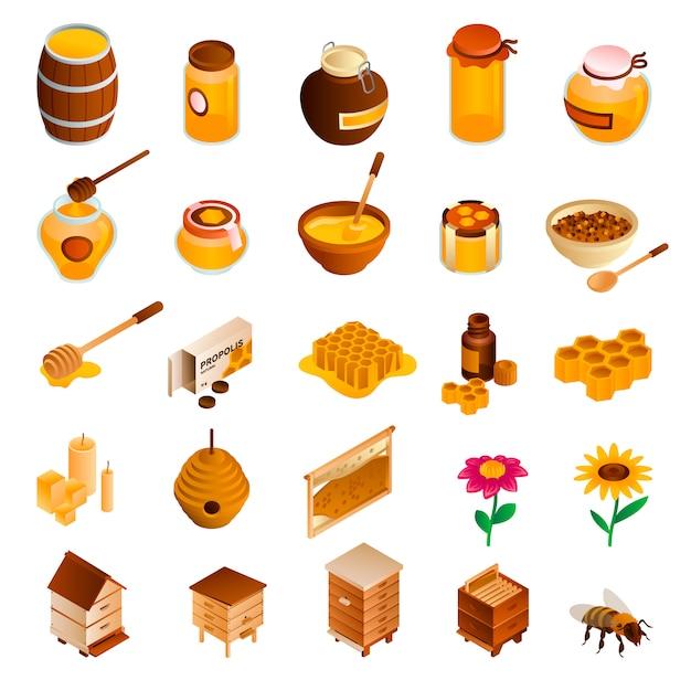 Set di icone di miele. set di miele isometrico Vettore Premium