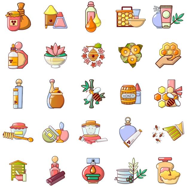 Set di icone di miele, stile cartoon Vettore Premium