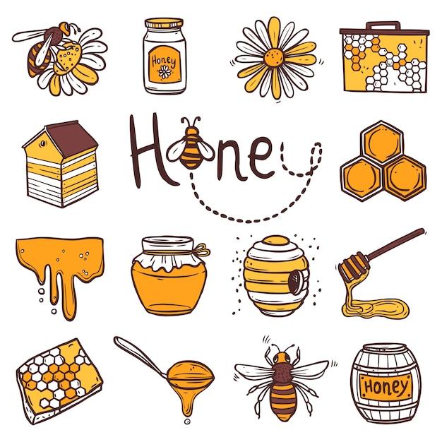 Set di icone di miele Vettore gratuito