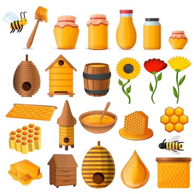 Set di icone di miele Vettore Premium
