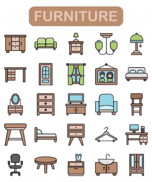 Set di icone di mobili, stile di colore lineare premium Vettore Premium