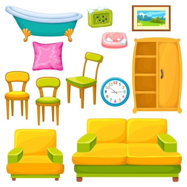 Set di icone di mobili. Vettore Premium