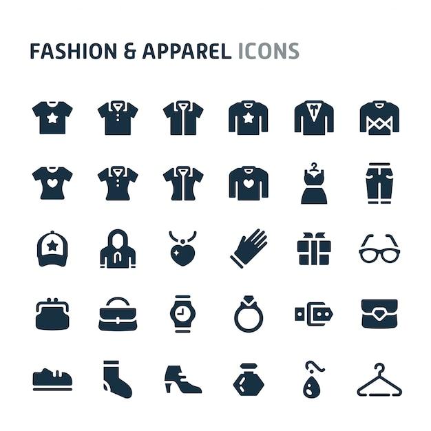 Set di icone di moda e abbigliamento. fillio black icon series. Vettore Premium