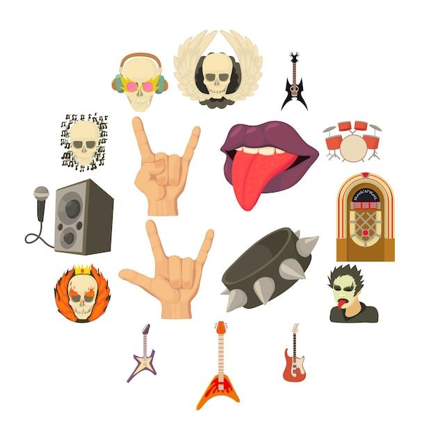 Set di icone di musica rock, in stile cartone animato Vettore Premium