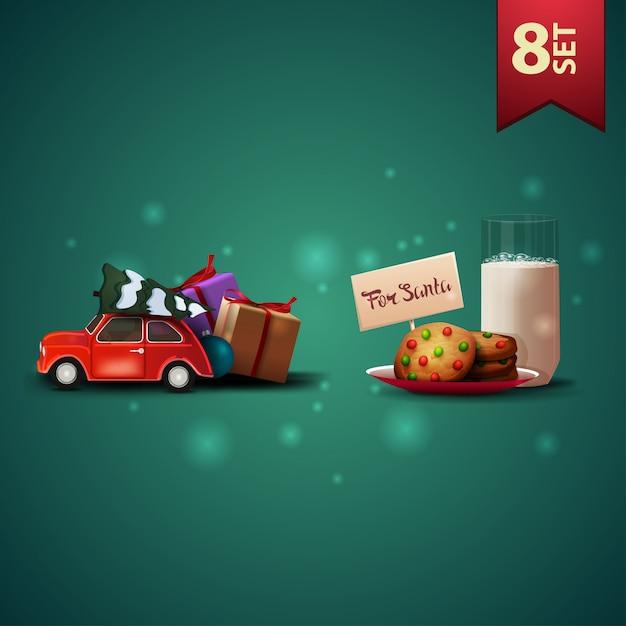 Set di icone di natale 3d, auto d'epoca rossa che trasportano albero di natale e biscotti con un bicchiere di latte per babbo natale Vettore Premium