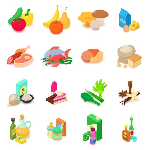 Set di icone di navigazione negozio alimenti. l'illustrazione isometrica di 16 alimenti di navigazione del negozio vector le icone per il web Vettore Premium