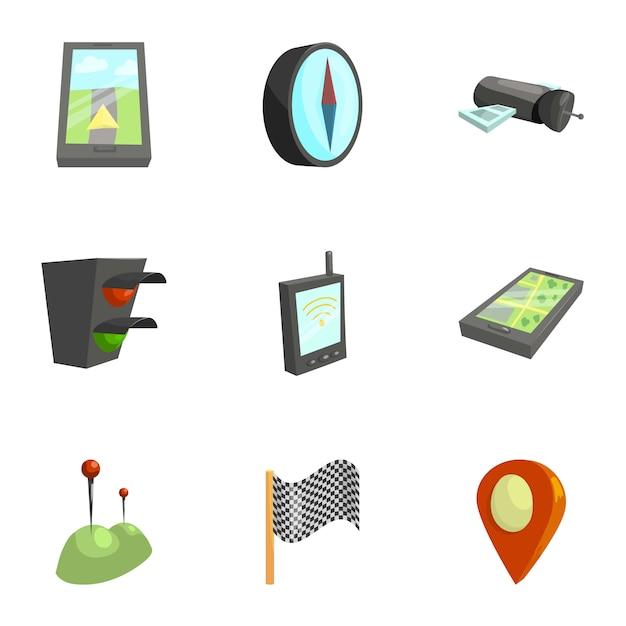 Set di icone di navigazione, stile cartoon Vettore Premium
