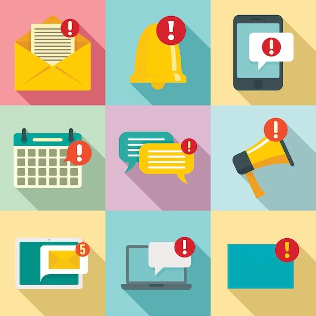 Set di icone di notifica, stile piano Vettore Premium