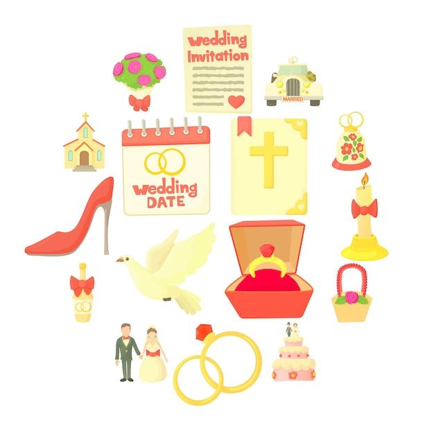Set di icone di nozze, stile cartoon Vettore Premium