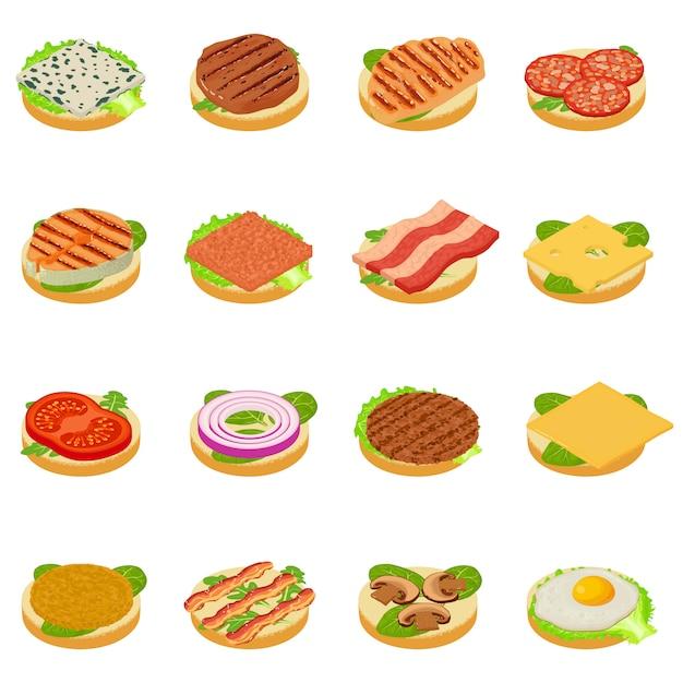 Set di icone di nutrimento Vettore Premium