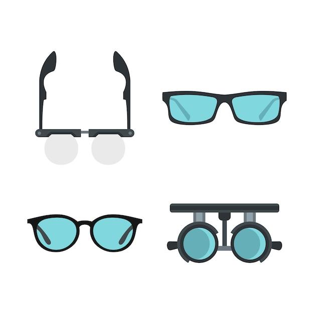 Set di icone di occhiali. insieme piano della raccolta delle icone di vettore di vetro isolata Vettore Premium
