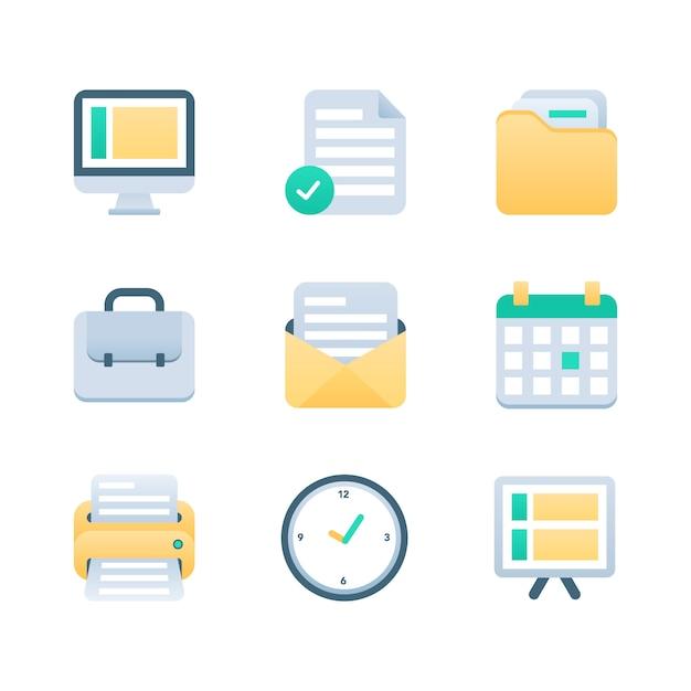 Set di icone di office e business Vettore Premium