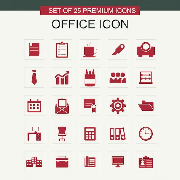 Set di icone di office Vettore gratuito