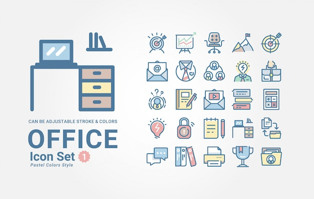 Set di icone di office Vettore Premium