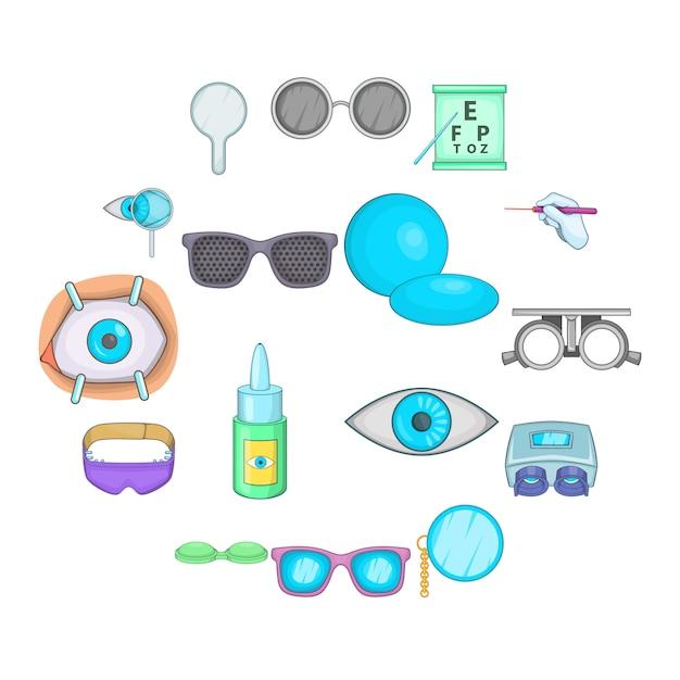 Set di icone di oftalmologo, stile cartoon Vettore Premium