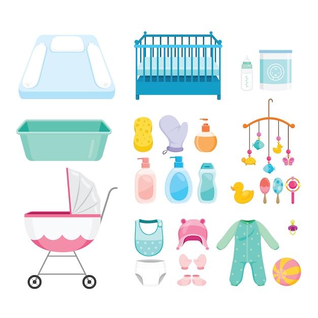 Set di icone di oggetti per bambini, attrezzature per neonati Vettore Premium