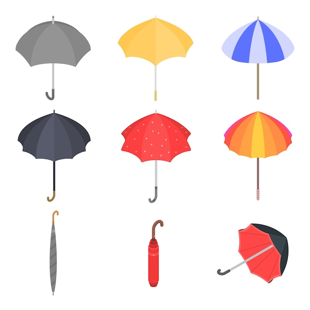 Set di icone di ombrello, stile isometrico Vettore Premium