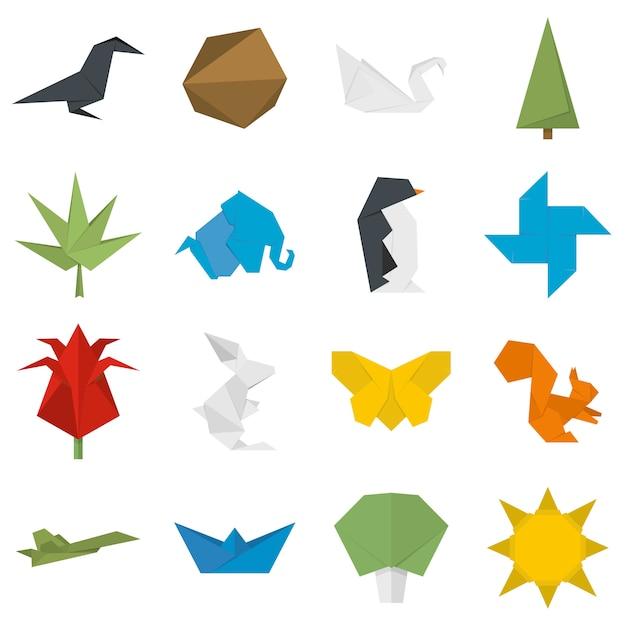 Set di icone di origami Vettore Premium