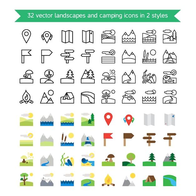 Set di icone di paesaggi e campeggio. natura e simboli itineranti. Vettore Premium