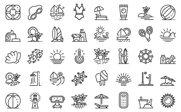 Set di icone di paesaggio di spiaggia Vettore Premium