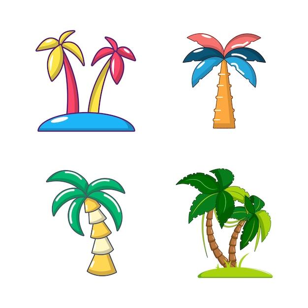 Set di icone di palma. l'insieme semplice delle icone di vettore della palma ha impostato isolato Vettore Premium
