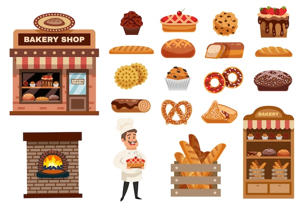 Set di icone di panetteria Vettore gratuito
