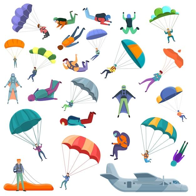 Set di icone di paracadutismo, stile cartoon Vettore Premium